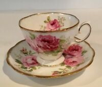 ROYAL ALBERT American Beauty Tea Cup and Saucer Set Vintage England Cabbage Rose