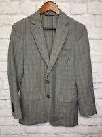 $295 Michael Kors Mens Gray Wrinkle Plaid Wool Slim Fit Sport Coat Blazer 36R