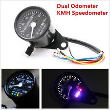 Motorcycle Dual Odometer KMH Speedometer Gauge Meter LED Backlight Signal Light