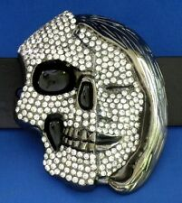 Belt Buckle Half Skull Half Woman Face Includes Leather Belt  Free USA Shipping