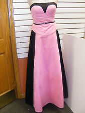 PINK & BLACK PROM-HOMECOMING DRESS by PRECIOUS FORMALS -  SATIN-BEADED --SIZE 8