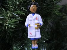 African American Female Pharmacist Christmas Ornament