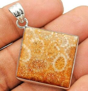 Natural Fossil Coral 925 Sterling Silver Pendant Jewelry IT1-5