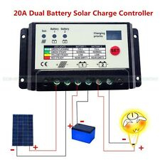 20A  12/24V Dual Battery PWM Solar Charge Controller Panel Battery Regulator
