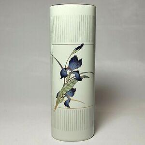 "Otagiri Grand Iris Vase 7"" Tall Japan Porcelain 80s Vintage Art Deco Floral Bud"