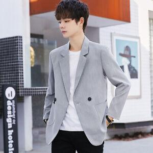 Mens Coat Korean Fashion Lapel Collar One Button Blazer Jacket Formal Dress Suit
