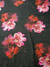 Black/Pink Lilly Floral Digital Print Polyester Chiffon Dress/Top Fabric- A59