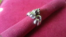 Beautifu Two Cute Cats Animal Adjustable Ring 925 Sterling Silver *Size 8Ad*G549