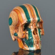 Skateboard Laminated Wood Human Skull Carving Art Sculpture Paperweight 15.77 g