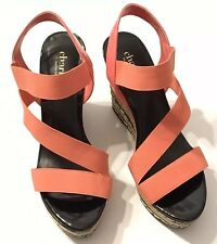 695421255e88 Charles by Charles David Time Espadrille Wedge Sandal Heels Coral Size 7M