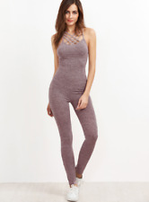 Ribbed Knit Caged Neck Jumpsuit