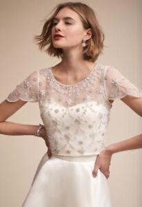 BHLDN Moyna Elianne Size Medium Beaded Flutter Sleeve Wedding Dress Topper