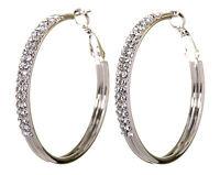 Swarovski Elements Crystal Double Row Hoop Earrings Rhodium Authentic New 7221w