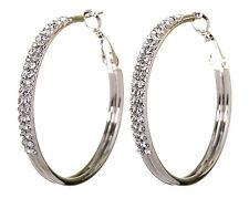 "Swarovski Elements Crystal 1 1/2"" Double Row Hoop Pierced Earrings Rhodium 7221x"
