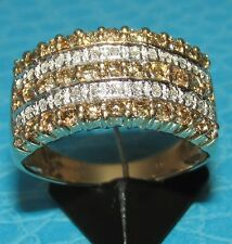 STUNNING  SECONDHAND QVC 9ctYELLOW GOLD COGNAC & WHITE DIAMOND BAND RING SIZE O