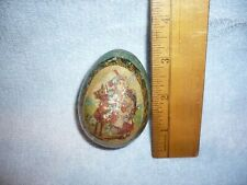 antique Tin Litho   victorian Egg Candy Container kids and toy pony