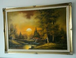 Large Thomas Cole, Landscape Canvas textured painting USA collectable / vintage