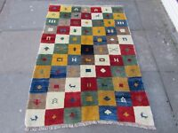 Vintage Traditional Hand Made Rugs Oriental Green Wool Gabbeh Rug 150x108cm