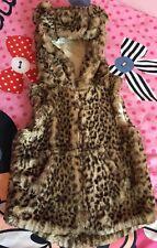 NEXT Girls Animal Print Soft Faux Fur Hooded Gilet Sz 5-6 Yrs Immaculate