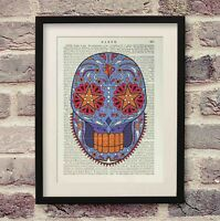 Sugar Skull Antique Encyclopaedia Britannica Page Art Print Wall Décor Upcycled