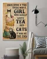 Tea Cat Vertical Poster lover tea gift funny cat Home Wall Decor No Frame Design