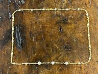 WUNDERVOLLE GELB-GOLD 14K 585 HALS-KETTE MIT ECHTEN KLEINEN PERLEN 42cm, 6,6g