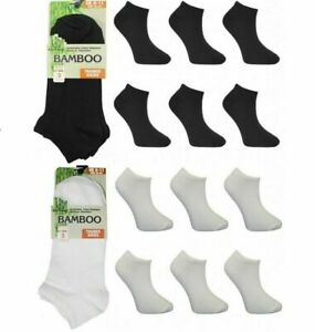 3 6 Pair Mens - Womens Bamboo Trainer Ankle Socks Sports Black White  6-11 / 4-7
