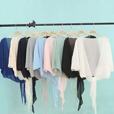Lady Yarn Short Sleeve Shawl Cardigan Top Wrap Tie Front Shirt Blouse Poncho Tee