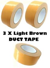 3 x LIGHT BROWN AUTOMOTIVE DUCT Tape Gaffa Cloth 48mm x 50m Waterproof Strong