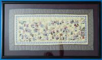 "Vintage Chinese Hand Embroidered Silk Panel ""Hundred Children Playing"" Framed"