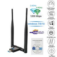 ADATTATORE USB 3.0 PC WIFI 1200 MBPS ANTENNA CHIAVETTA WIRELESS Internet WIFI