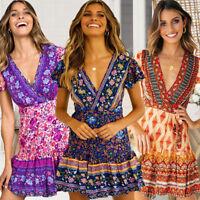 Women Short Sleeve Wrap Boho Floral Mini Dress Ladies Summer Sundress Holiday