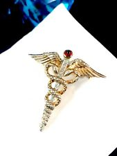 RARE CROWN TRIFARI WWII VERMEIL STERLING CADUCEUS MEDICAL CORPS SWEETHEART PIN