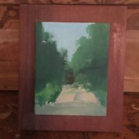 Vintage Outsider Art Oil Painting On Wood Lady Walking Landscape