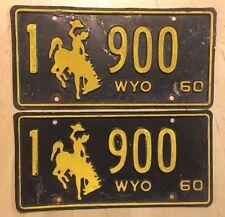 "WYOMING 1960 PASSENGER PAIR LICENSE PLATE PLATES "" 1  900 "" BUCKING BRONCO LOW #"