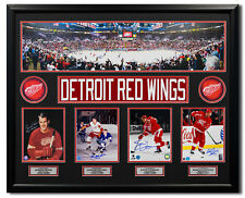 Red Wings Howe, Delvecchio, Yzerman, Lidstrom Firmada Joe Louis Arena 44x35 Marco