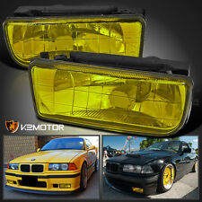 1992-1998 BMW E36 325 328 M3 Yellow Amber Bumper Driving Fog Lights Lamps Pair