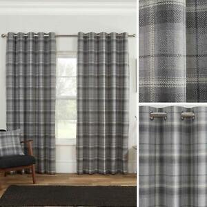 Grey Eyelet Curtains Blackout Tartan Check Ready Made Ring Top Curtain Pairs
