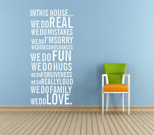 Family House Rule Removable Wall Sticker Vinyl Quote Decal Mural Home Decor 316