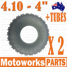 "2x 3.50 / 4.10 - 4"" Inch Knobby Tyre Tire + TUBE 49cc ATV QUAD Bike Gokart Buggy"