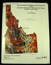 Recon. Geology & Geochemistry Of The Blackbird - Panther Cr. Region, Lemhi Idaho