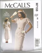 McCall's Sewing Pattern 7153, Retro 1933 Dress and Belt, Sizes 6 - 14, New