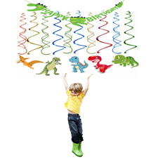 Dinosaur Birthday Party Supplies-Dino Birthday Banner, Swirl Party Decoration