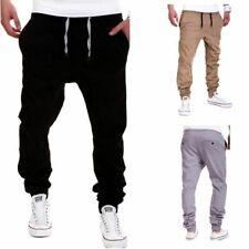 Men's Jogging Cotton Drawstring Pants Casual Sports Trousers Slim Trousers