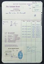 British Transport Hotel Liverpool England Two Pence Bill Rechnung (Lot # 9602