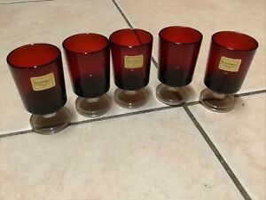 Vintage Luminarc Ruby Red Stemmed Glasses Set of 5 Excellent Condition