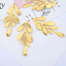 6PCS Raw Brass Leaves Leaf Charms Pendants DIY Necklace Earring Jewelry Finding