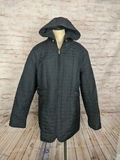 Susan Graver Womens Size L Quilted Jacket Parka Black Hooded QVC