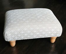 Biagi Upholstery & Design Champagne Patterned Low Footstool on Turned Wood Feet