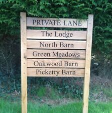 Oak 2 Post Engraved Waney Edge Sign 800mm X 200mm House Business Signage